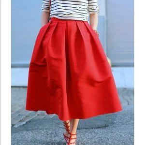 Red Full Skirt—Mid Length